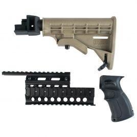 AK47 6 POS STOCK SET FDE WITH BLK GRIP & QUADRAIL