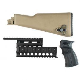 AK47 STOCK SET FDE WITH BLK GRIP & QUADRAIL