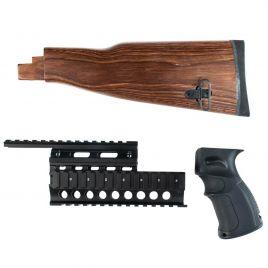 AK47 AK74 LAMINATE STOCK  BLK GRIP & QUADRAIL SET