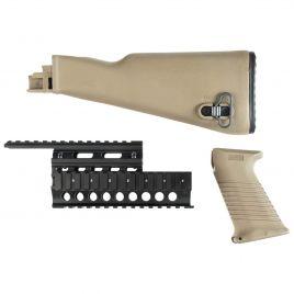 AK47 STOCK SET FDE WITH SAW STYLE FE & QUADRAIL