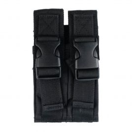 DOUBLE STACK DUAL MAGAZINE POUCH BLACK NYLON
