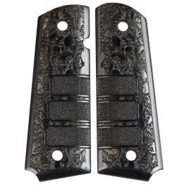 1911 GRIP BLACK LAMINATE WOOD WIITH SKULLS